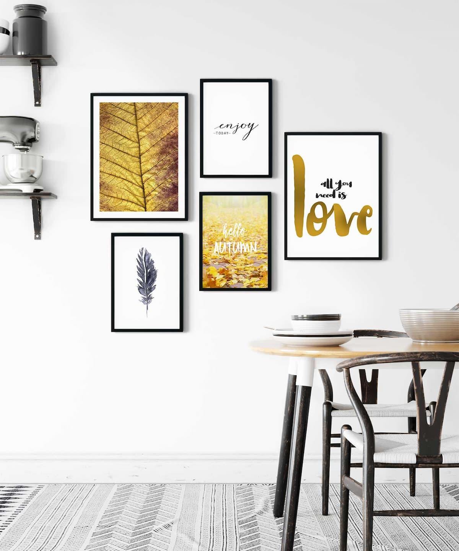 Golden-Love-Poster-Set-Black-Framed-on-Wall-Duwart