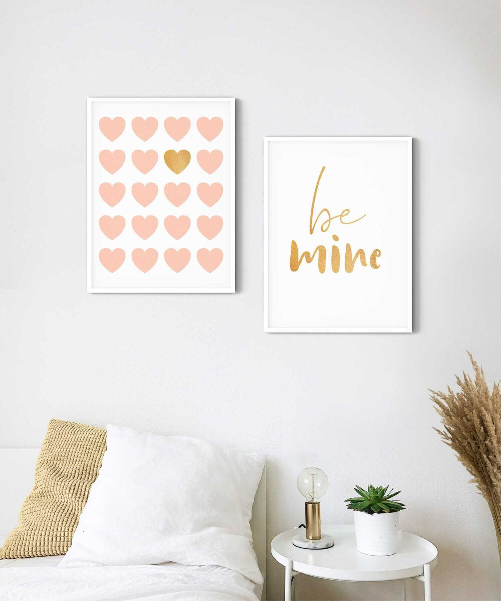 Be-Mine-Poster-Set-on-Wall-White-Framed-Duwart
