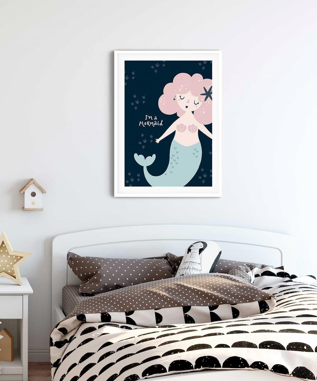 Cute-Mermaid-Poster-on-Wall-Kidsroom-Duwart