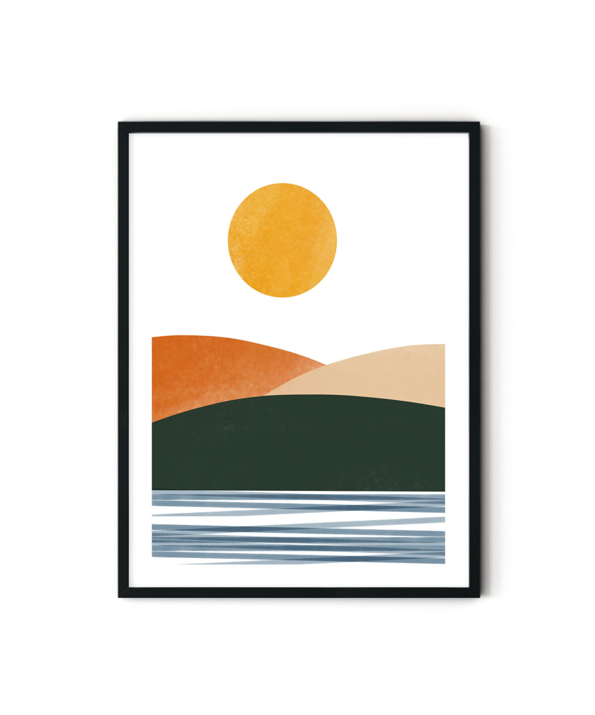 Hills-And-Sea-Abstract-Framed Poster