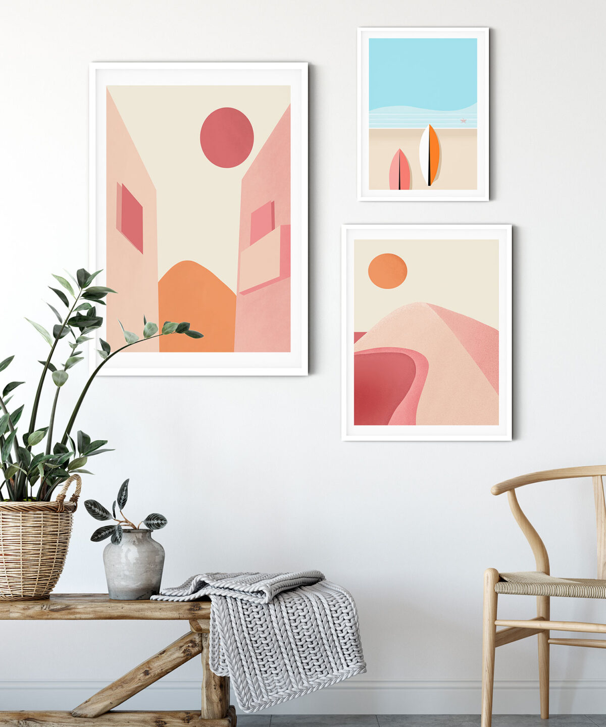 Pink-Planet-Abstract-3'-lü-Poster-Set