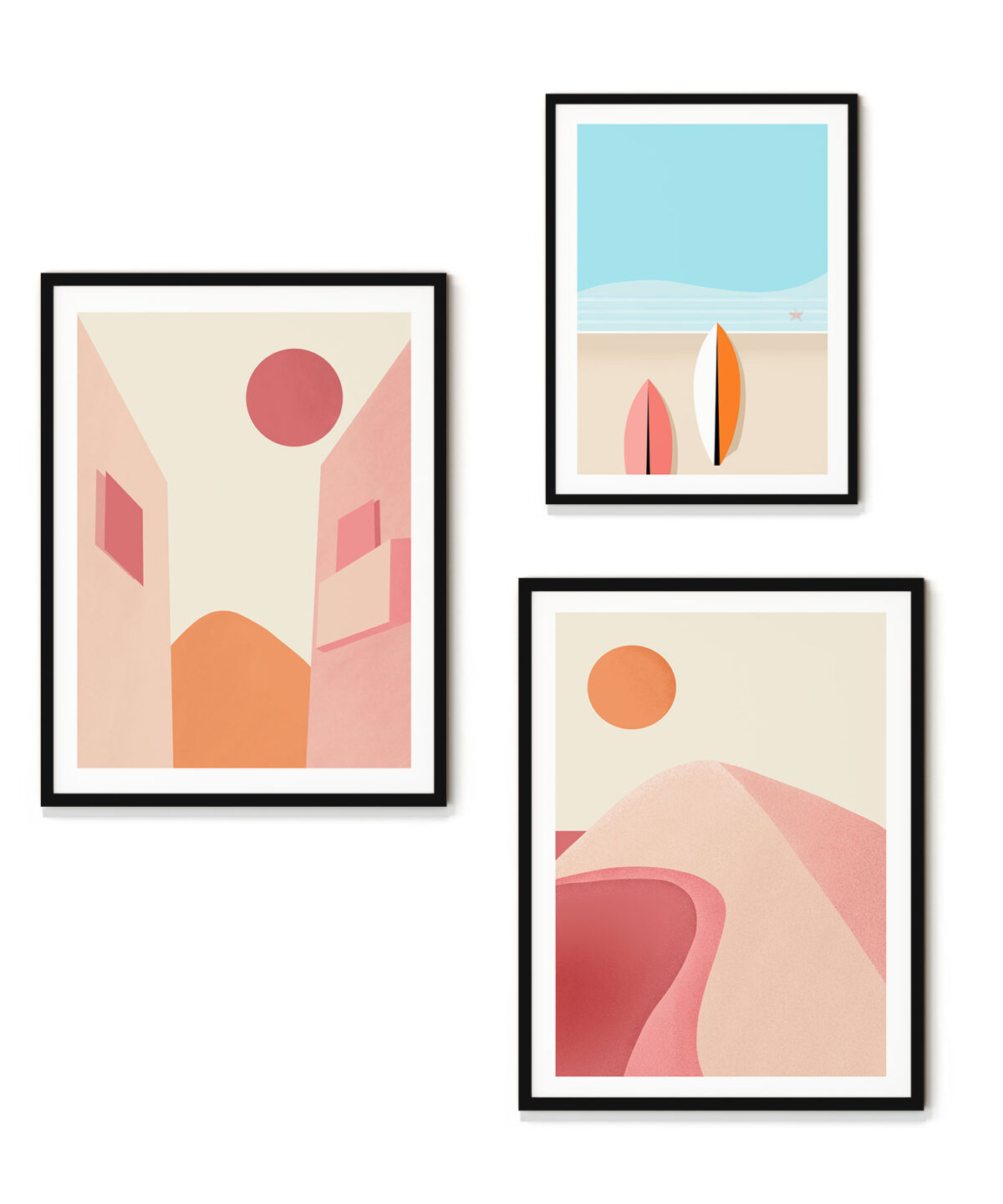 Pink-Planet-Abstract-3'-lü-Poster-Set New-Duwart
