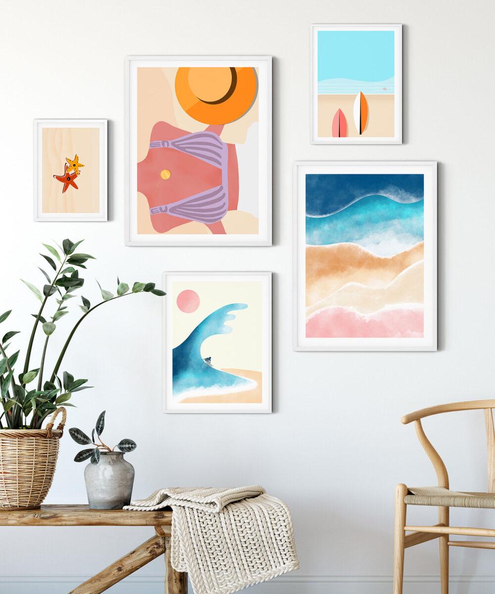 Beach-Surf-Abstract-5'li-Poster-Set-DUWART