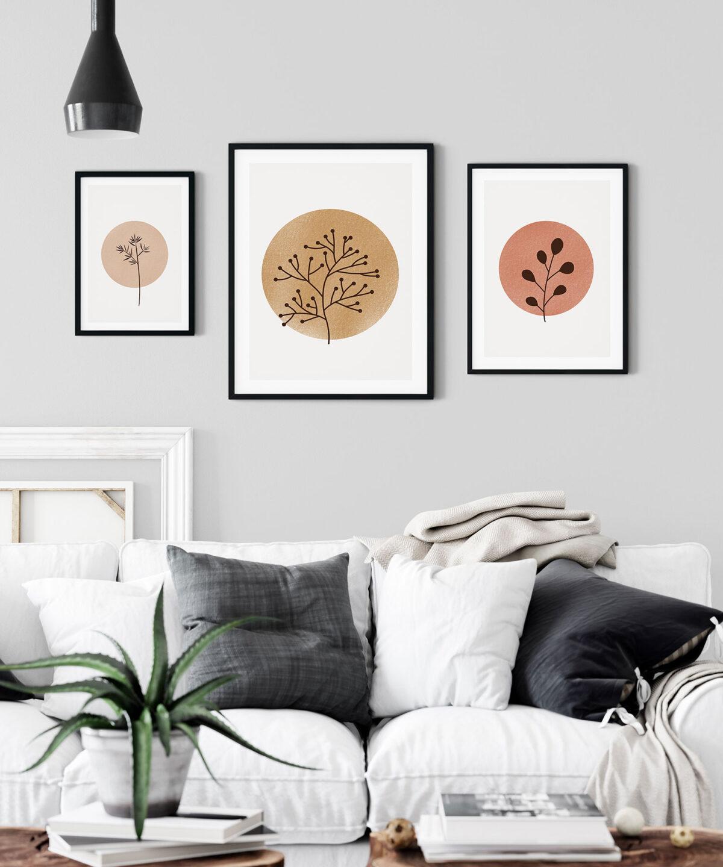 Moon Plants İskandinav Tarzı minimal Poster Set