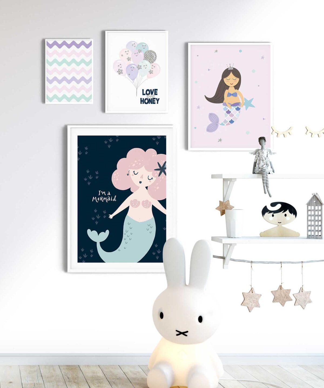 Mermaid Çocuk Odası Poster Seti
