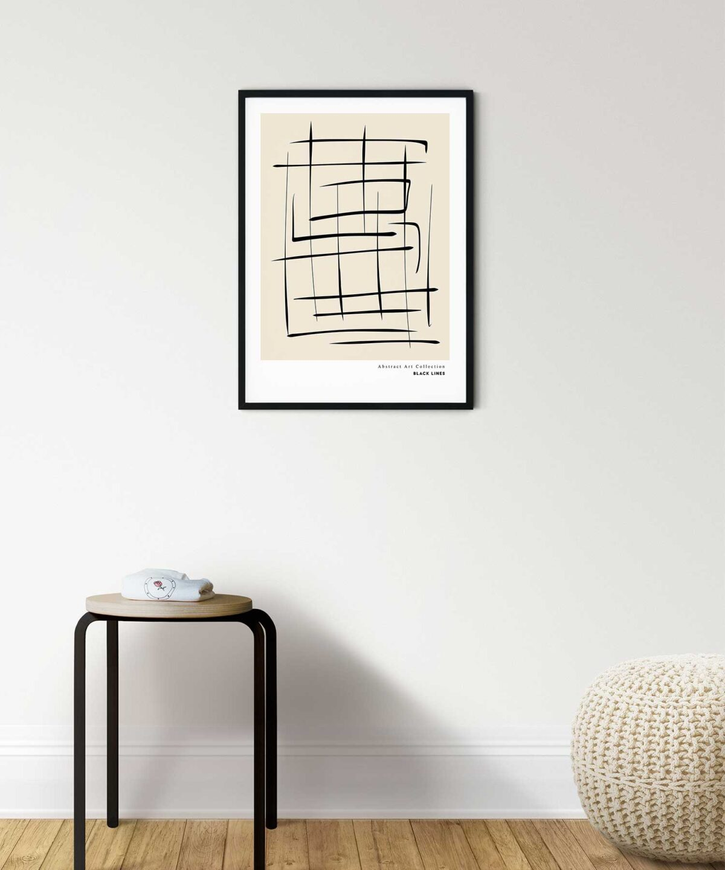 Black Lines Soyut Poster