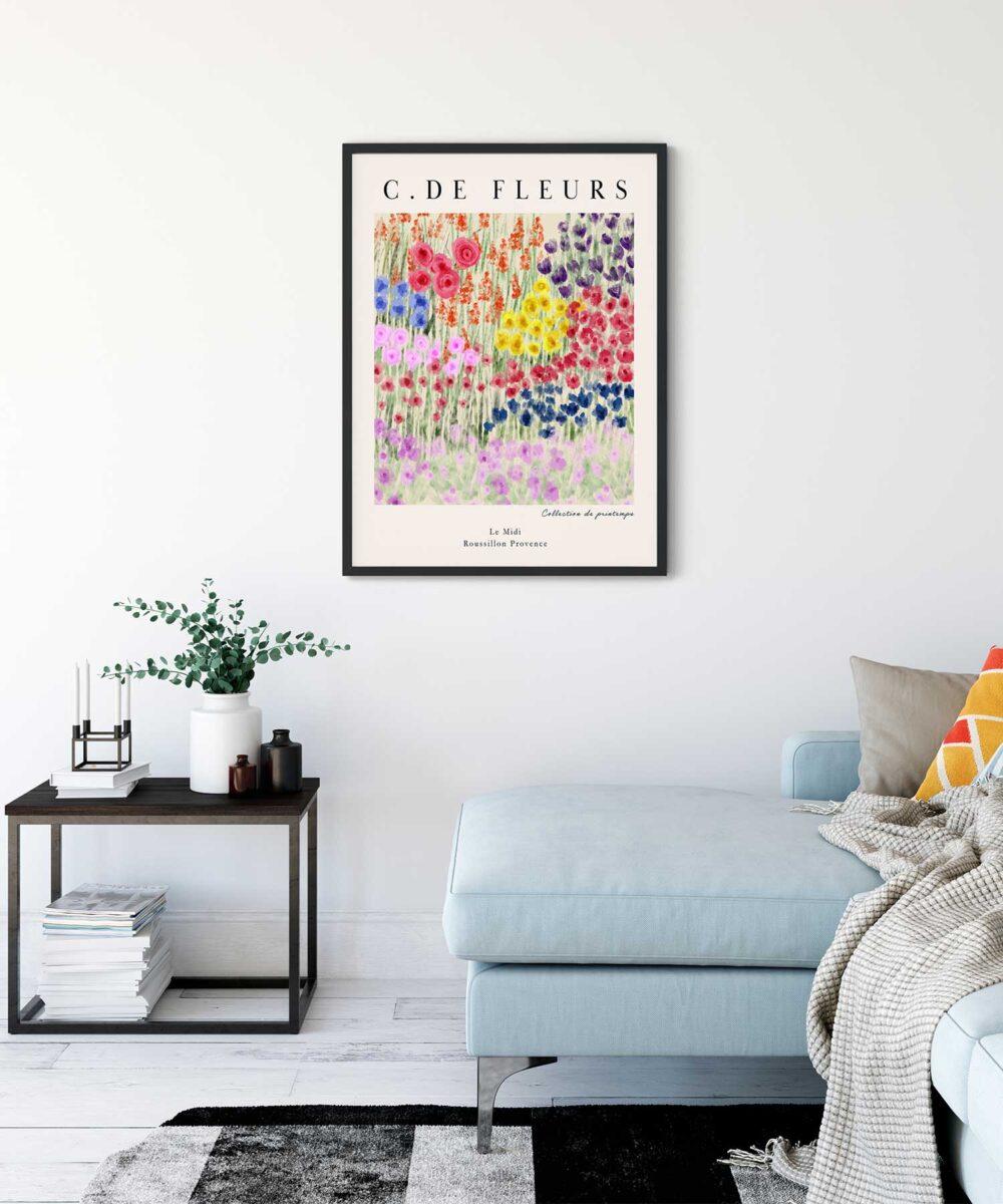 Champ De Fleurs Poster on Wall Black Framed