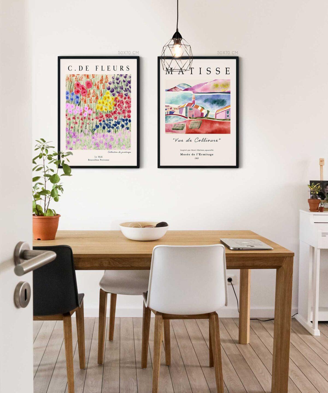 Fleurs-Poster-Set-Black-Framed-on-Wall-Duwart-NEW