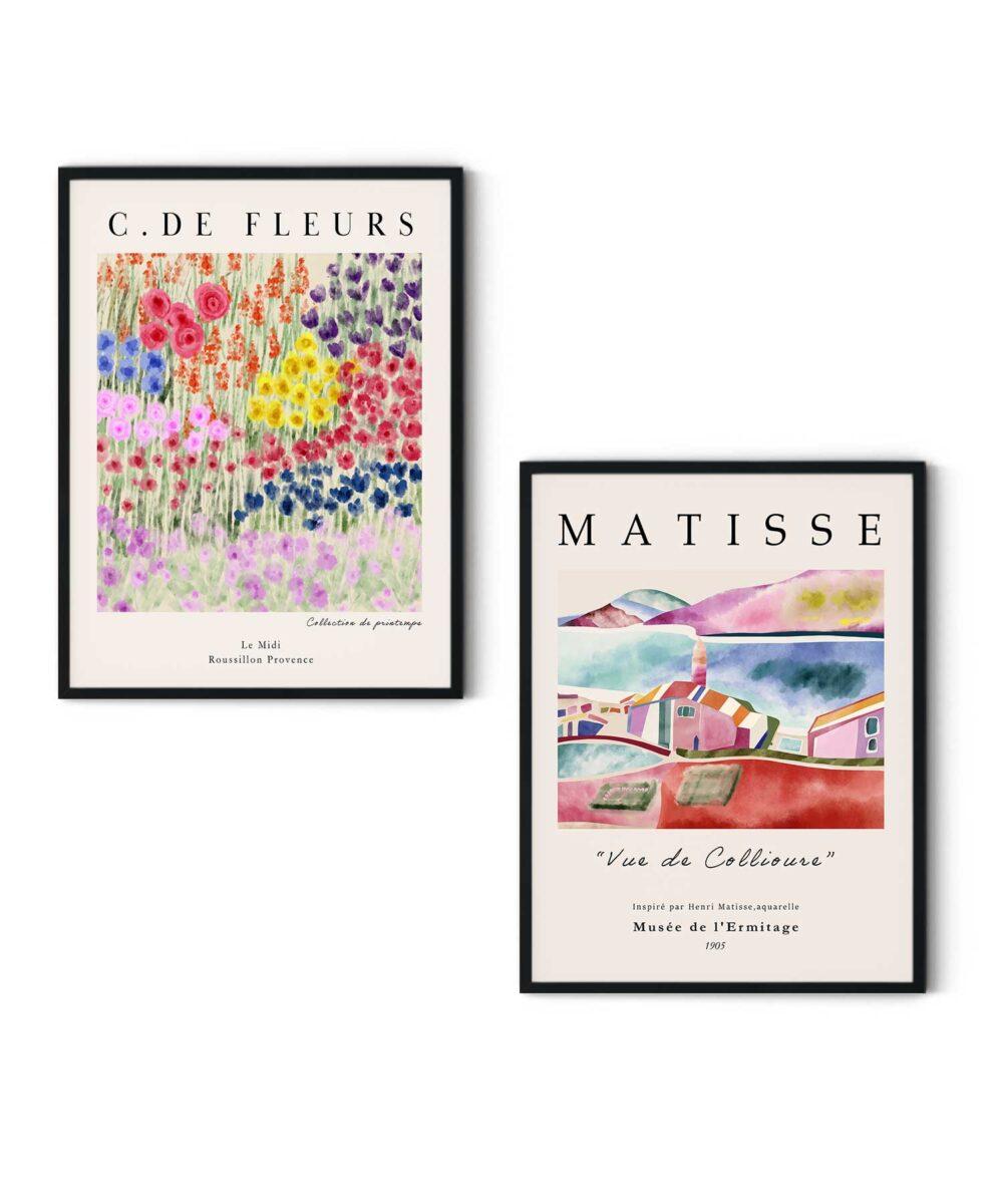 Fleurs Poster Set on Wall Black Framed