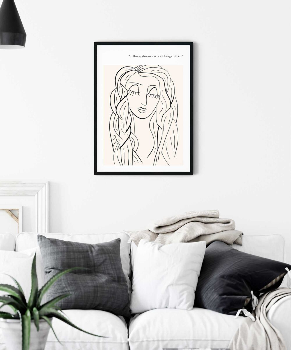 Lazy-Eyes-Poster-on-Wall-Black Framed Duwart