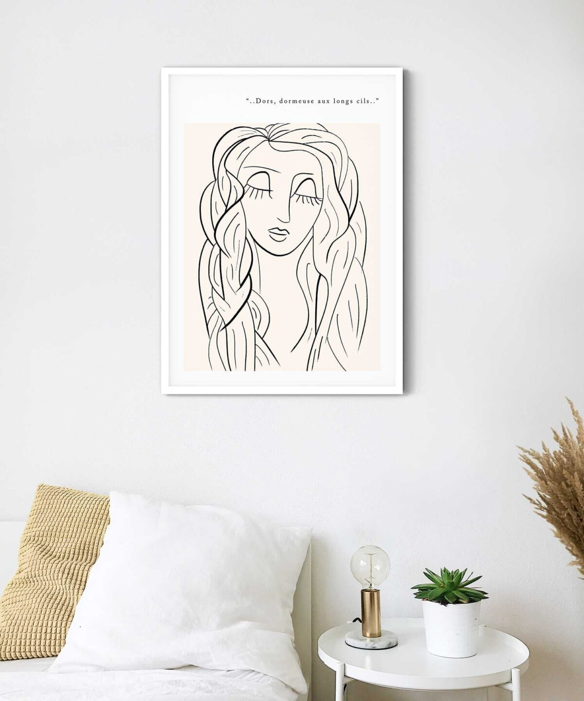 Lazy Eyes Poster on Wall with White Framed Duwart