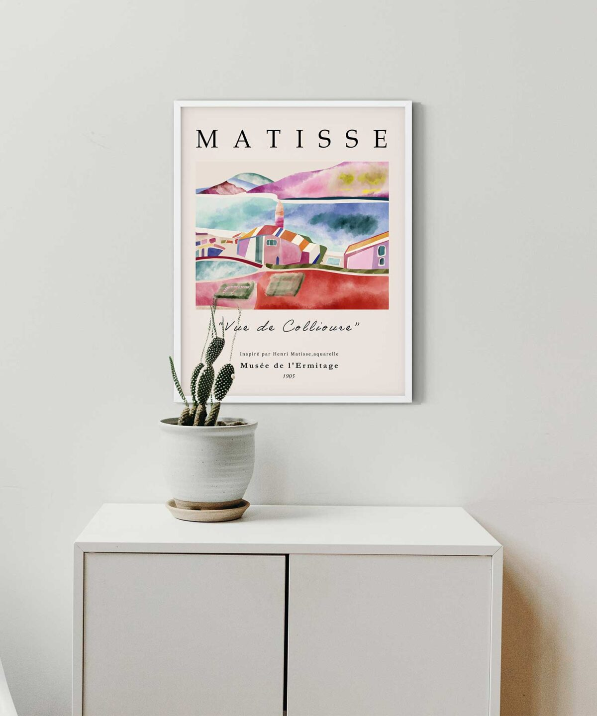 Vue-De-Collioure-Poster-No-1-on-Wall-White-Framed-Duwart