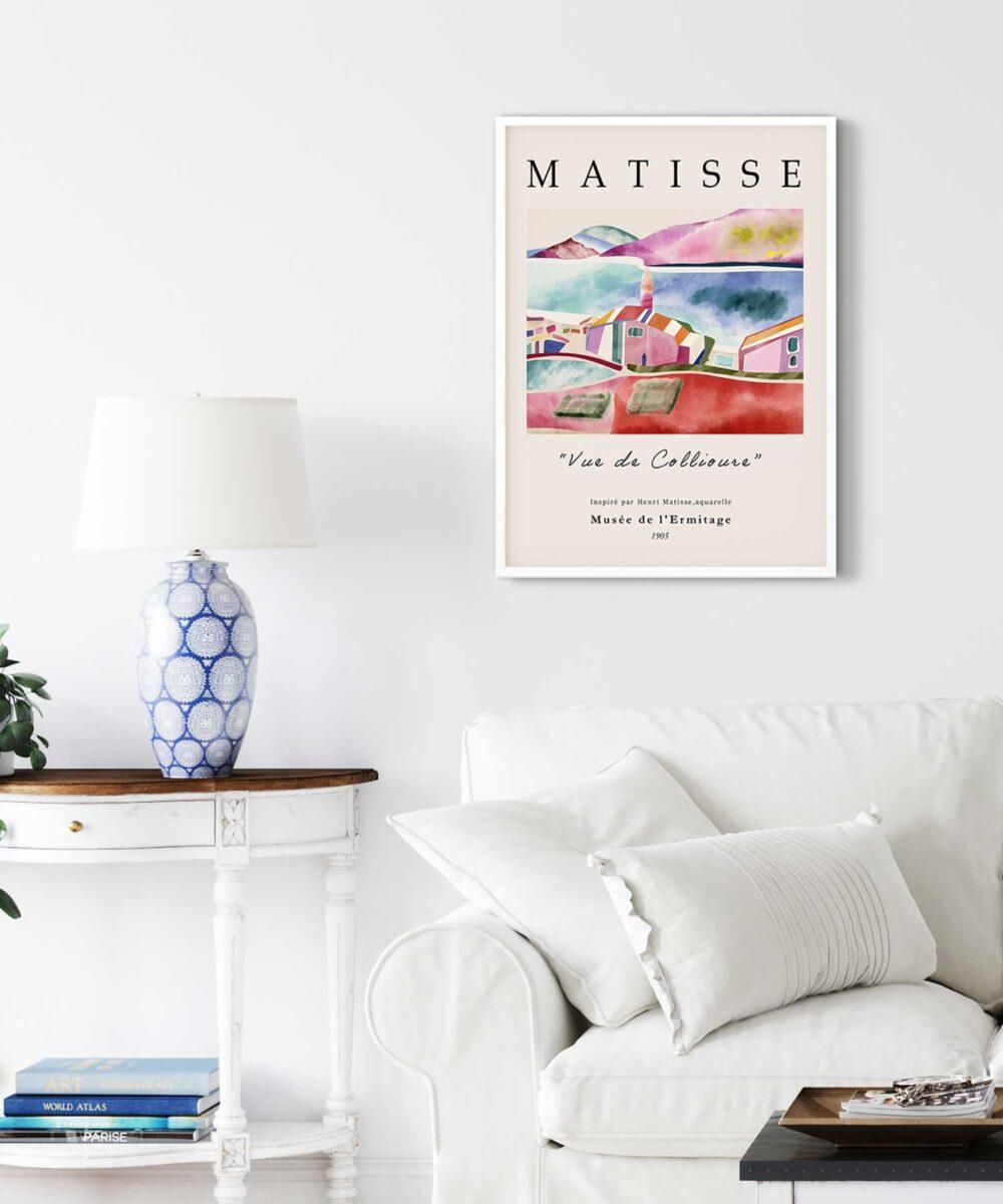 Vue-De-Collioure-Poster-No-1-on-Wall-White-Framed-Duwart