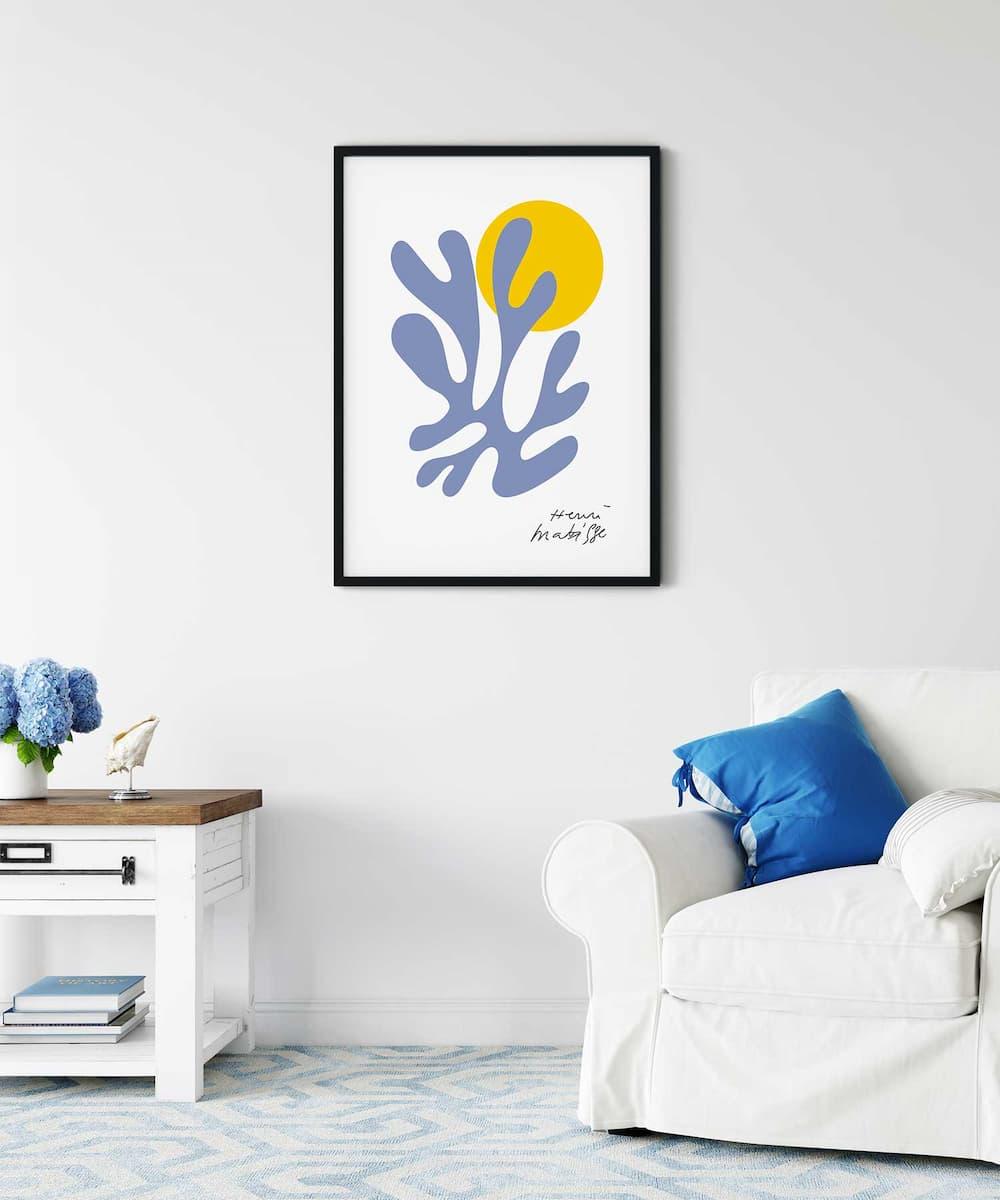 Blue-Plant-Poster-on-Wall-Black-Framed-Duwart