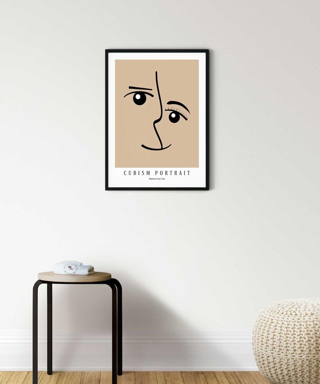 Cubism-Portrait-Poster-on-Wall-Black-Framed-Duwart