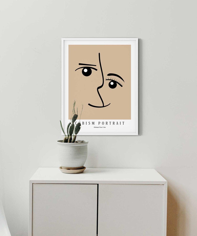 Cubism-Portrait-Poster-on-Wall-White-Framed-Duwart