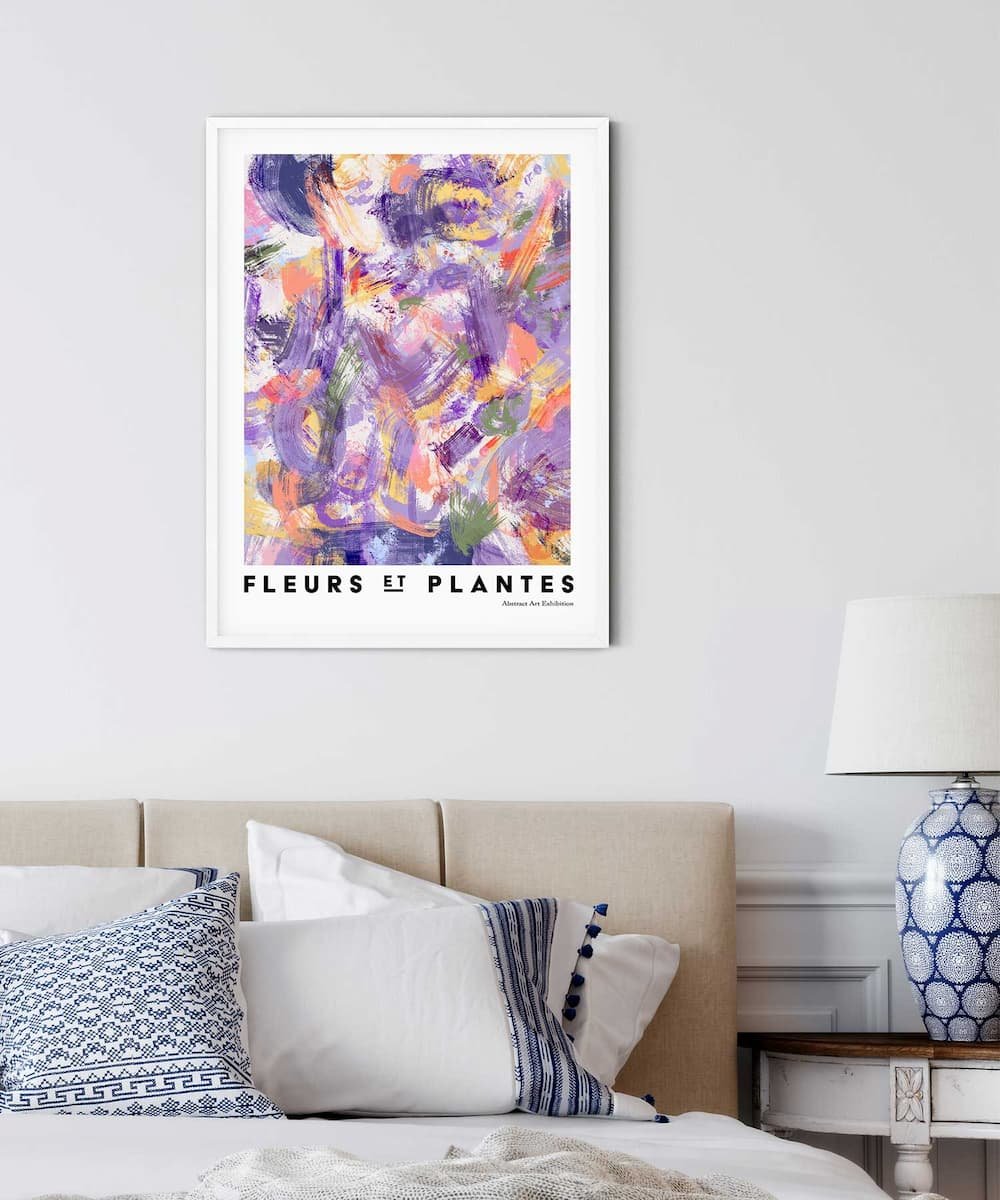 Plantes-Poster-on-Bedroom-Wall-White-Frame-Duwart