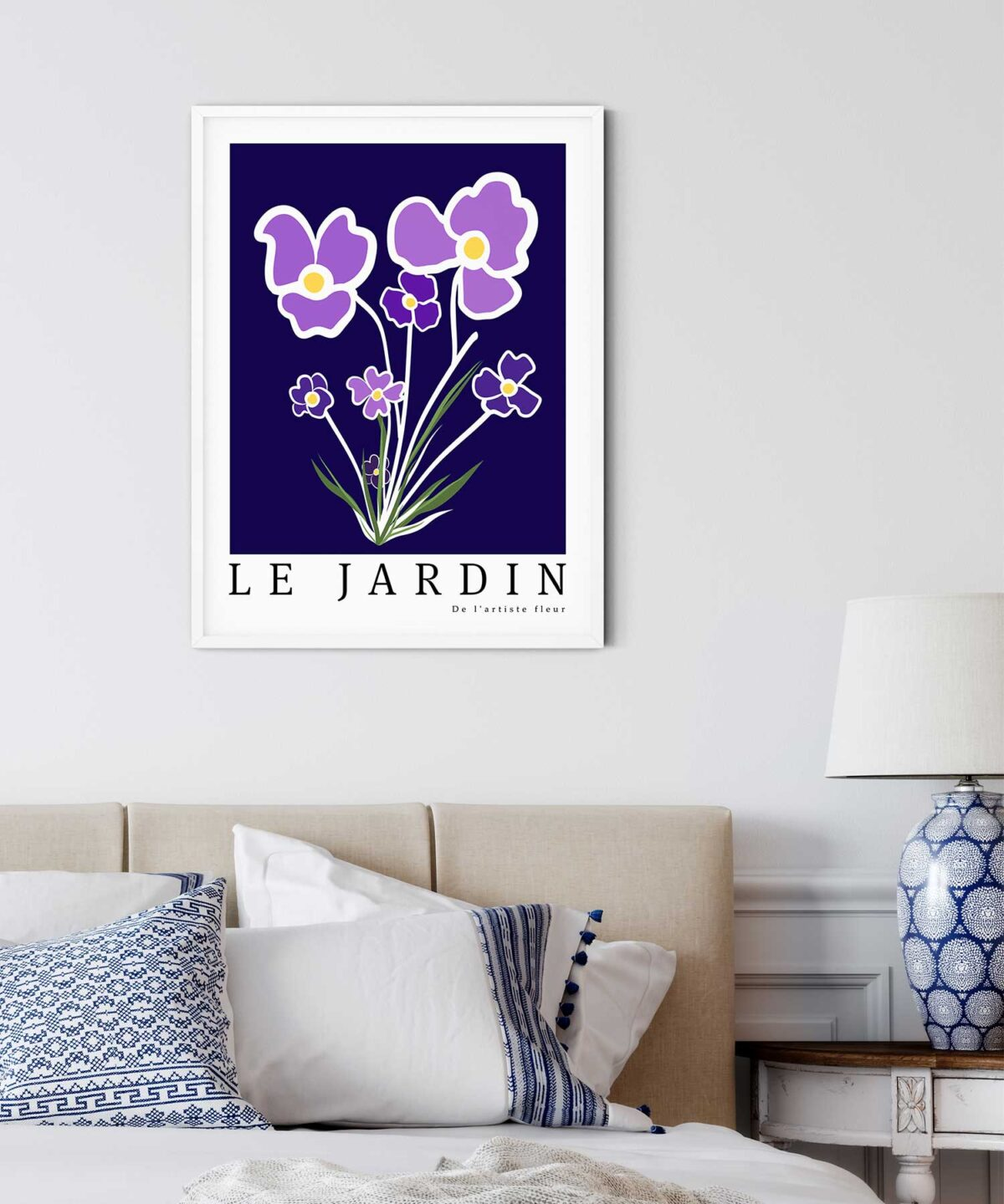 Purple-Flowers-on-Bedroom-Wall-White-Frame-Duwart