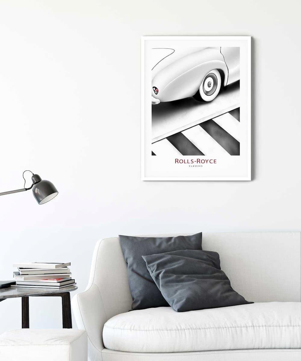 Rolls-Royce-Poster-on-Livingroom-Wall-White-Framed-Duwart