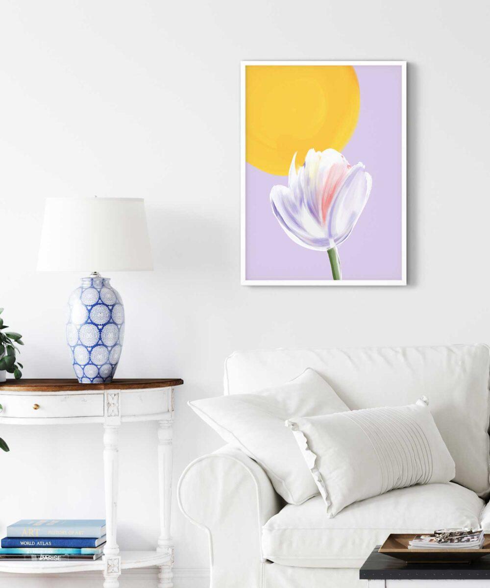 Sunny-Day-Poster-on-Bedroom-Wall-White-Framed-Duwart