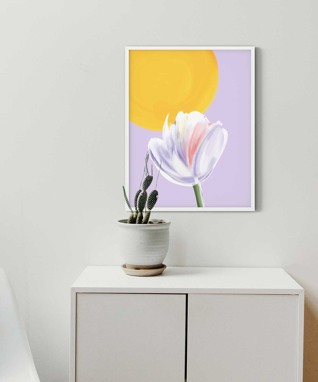 Sunny-Day-Poster-on-Wall-White-Framed-Duwart