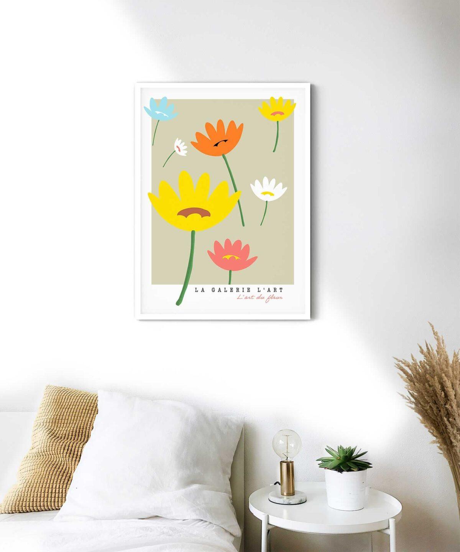 Daisy-Poster-on-Wall-White-Framed-Duwart
