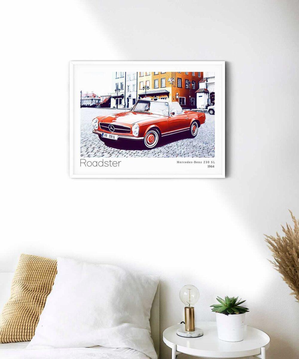 Roadster-Poster-on-Wall-White-Framed-Duwart