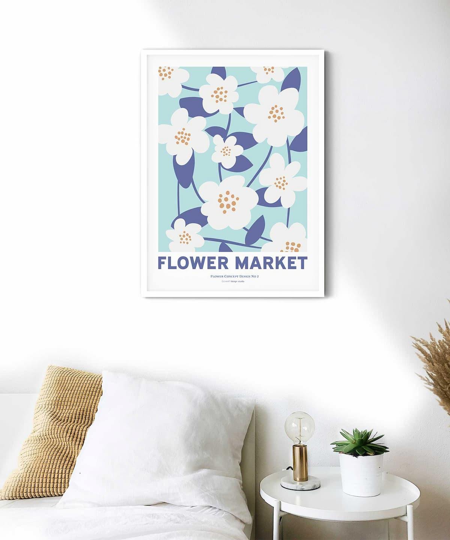 Spring-Blooms-Poster-White-Framed-Duwart