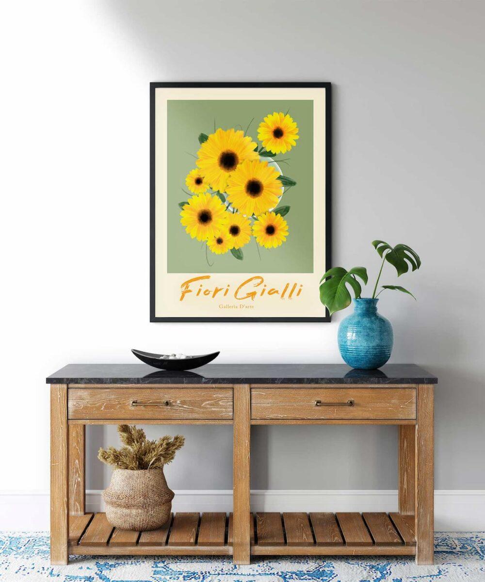 Sun-Flowers-Poster-Black-Framed-Duwart
