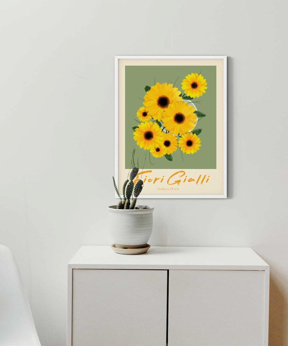 Sun-Flowers-Poster-on-Wall-White-Framed-Duwart