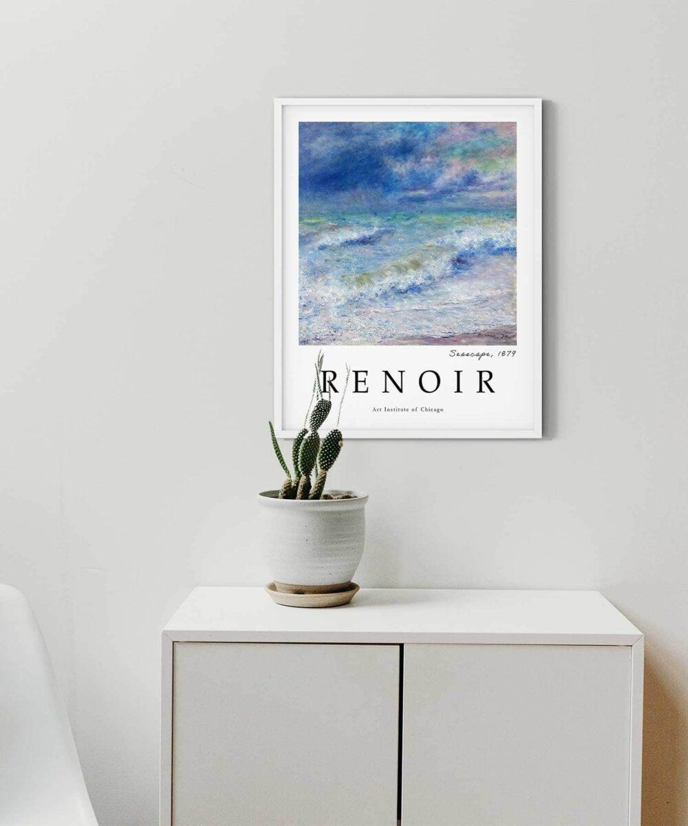 Auguste-Renoir-Seascape-Poster-White-Framed-Duwart