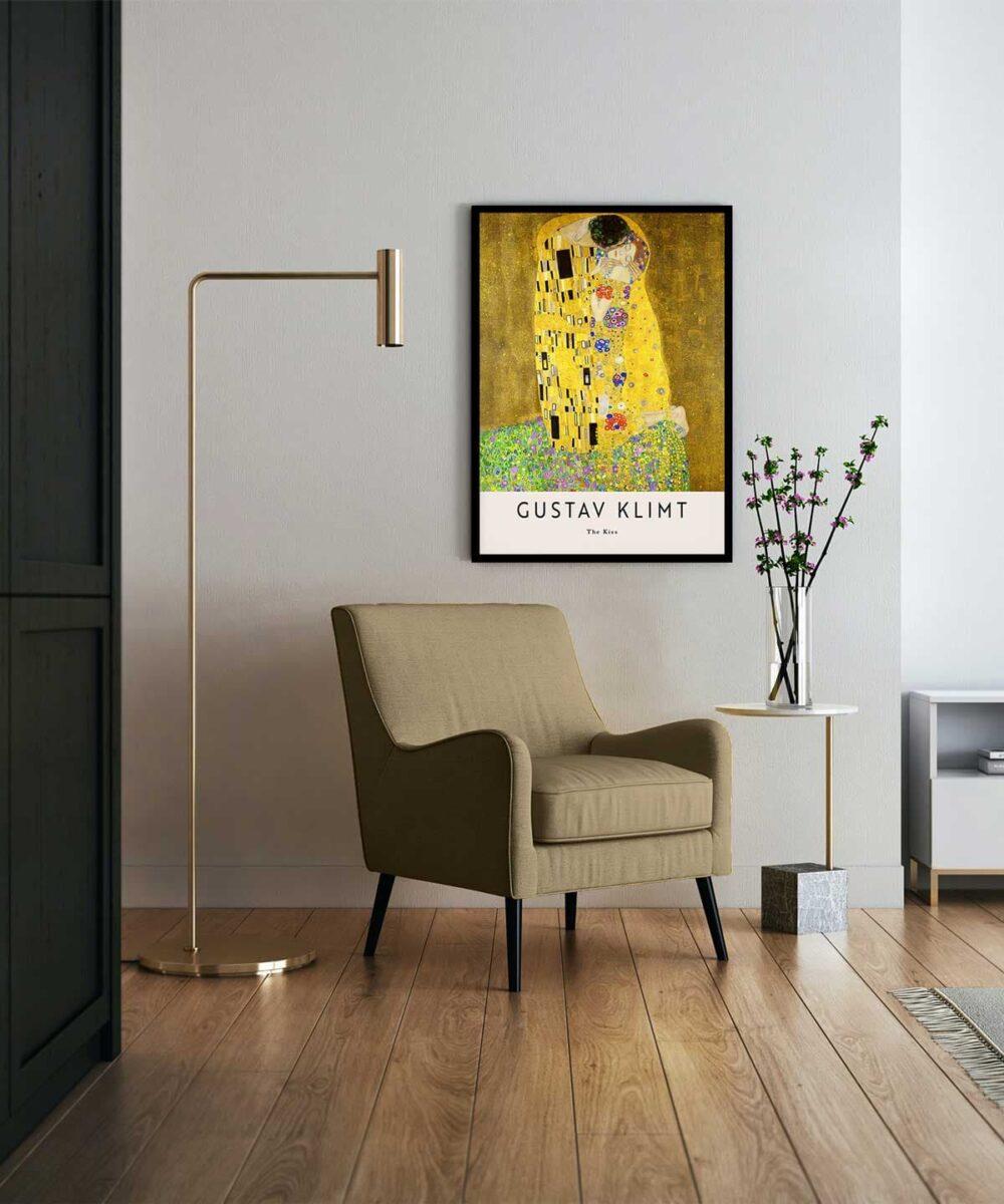 Gustav-Klimt-The-Kiss-Poster-Black-Framed-Duwart