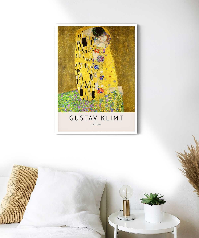 Gustav-Klimt-The-Kiss-Poster-White-Framed-Duwart