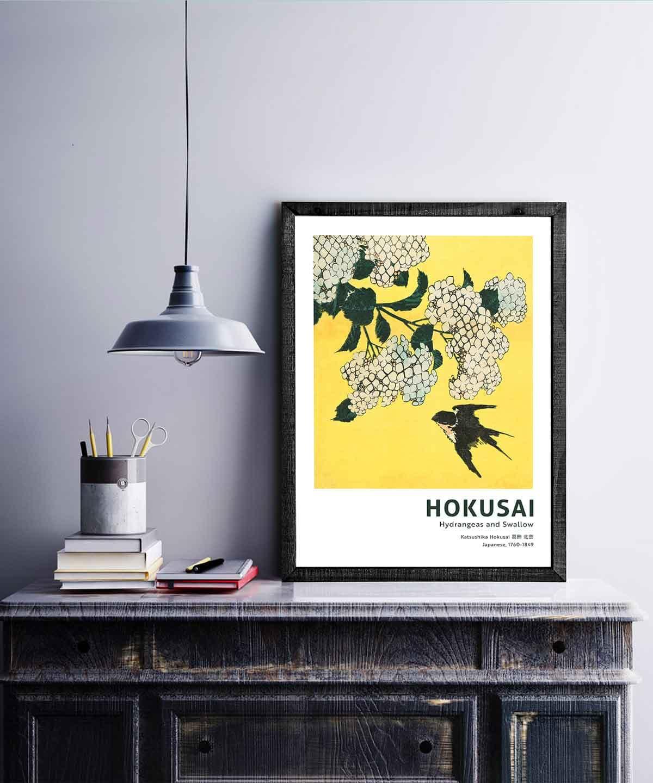 Hokusai-Hydrangea-and-Swallow-on-Wall-Black-Framed-Duwart