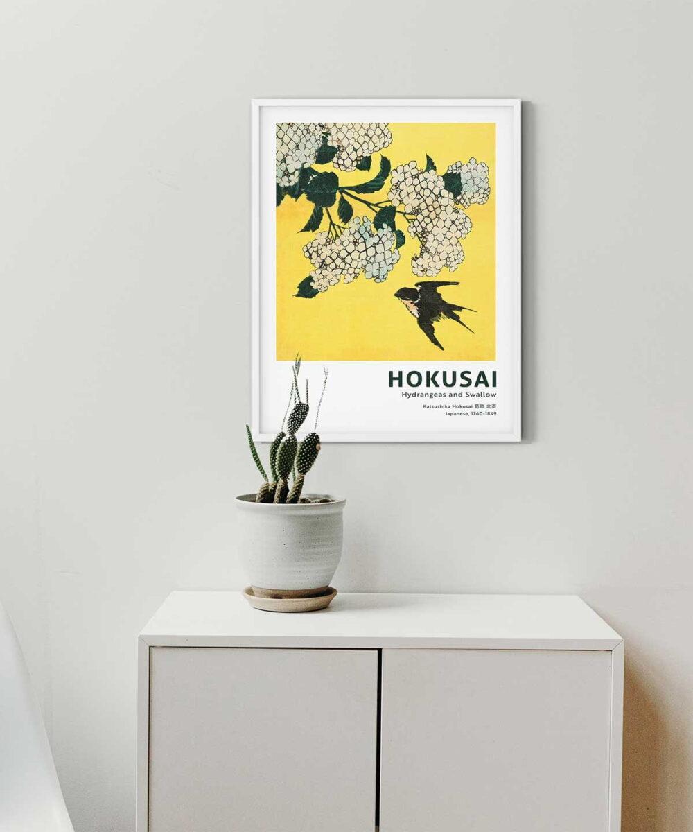 Hokusai-Hydrangea-and-Swallow-on-Wall-White-Framed-Duwart