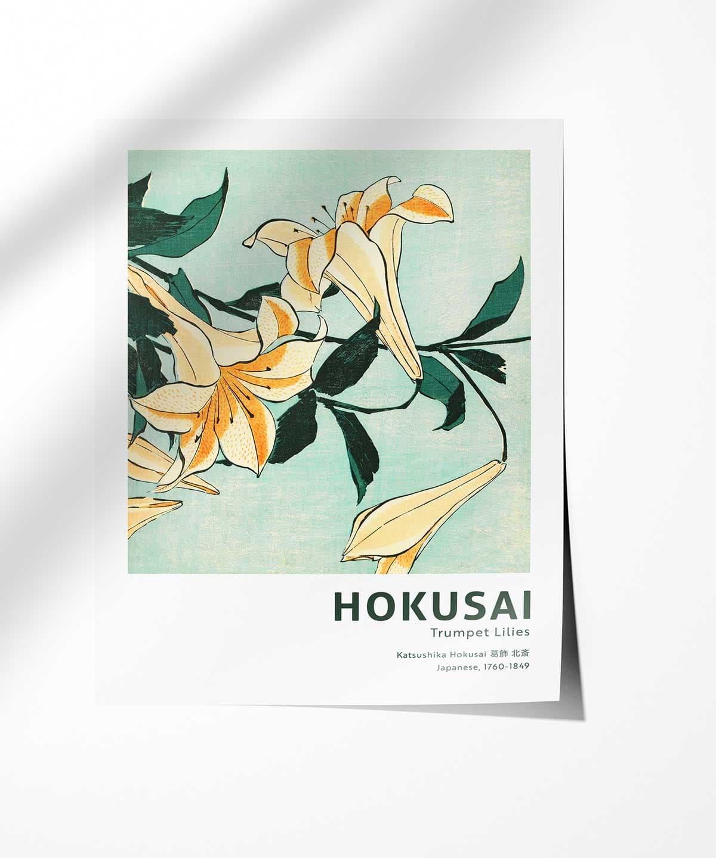 Hokusai-Trumpet-Lilies-Poster-Photopaper-Duwart