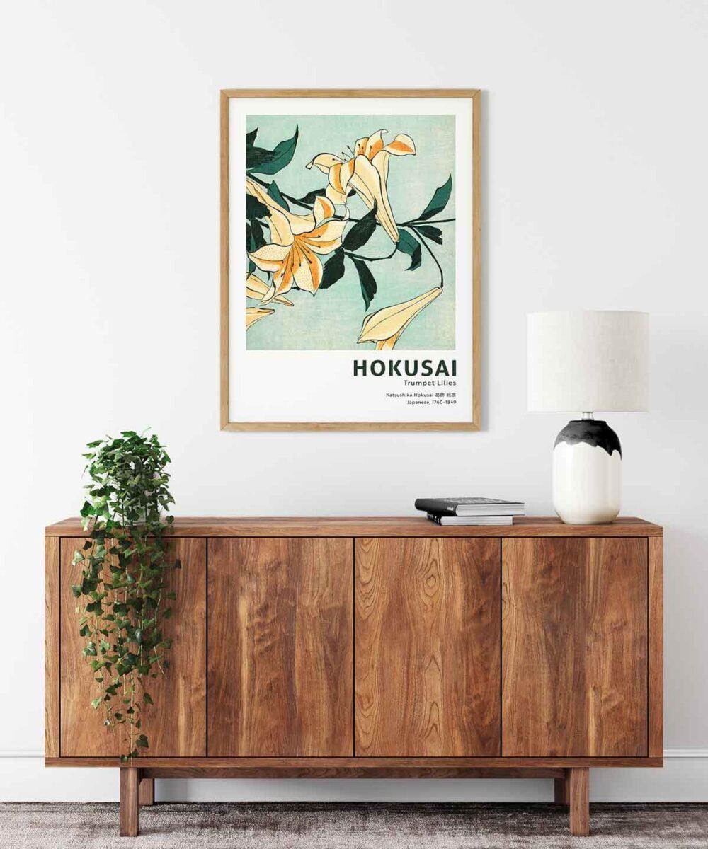 Hokusai-Trumpet-Lilies-Poster-Wooden-Framed-Duwart