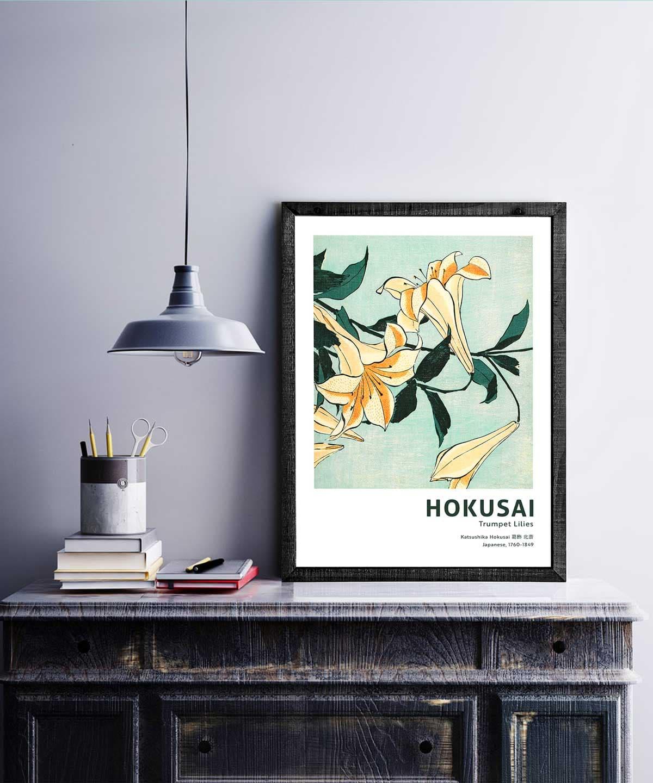 Hokusai-Trumpet-Lilies-Poster-on-Wall-Black-Framed-Duwart