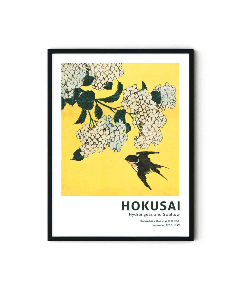 Hokusai-Hydrangea-and-Swallow-Poster-Duwart