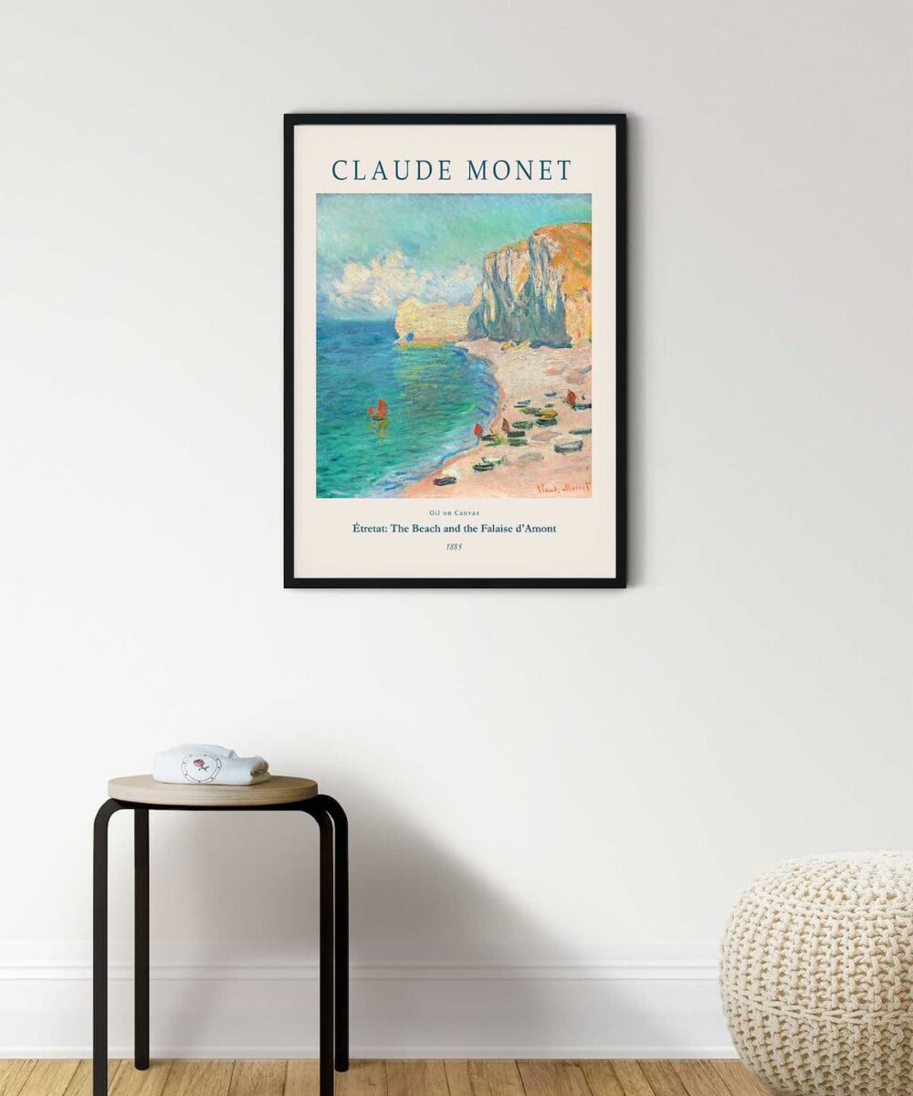 Monet-Étretat-The-Beach-and-the-Falaise-d'Amont-Poster-Black-Framed-Duwart