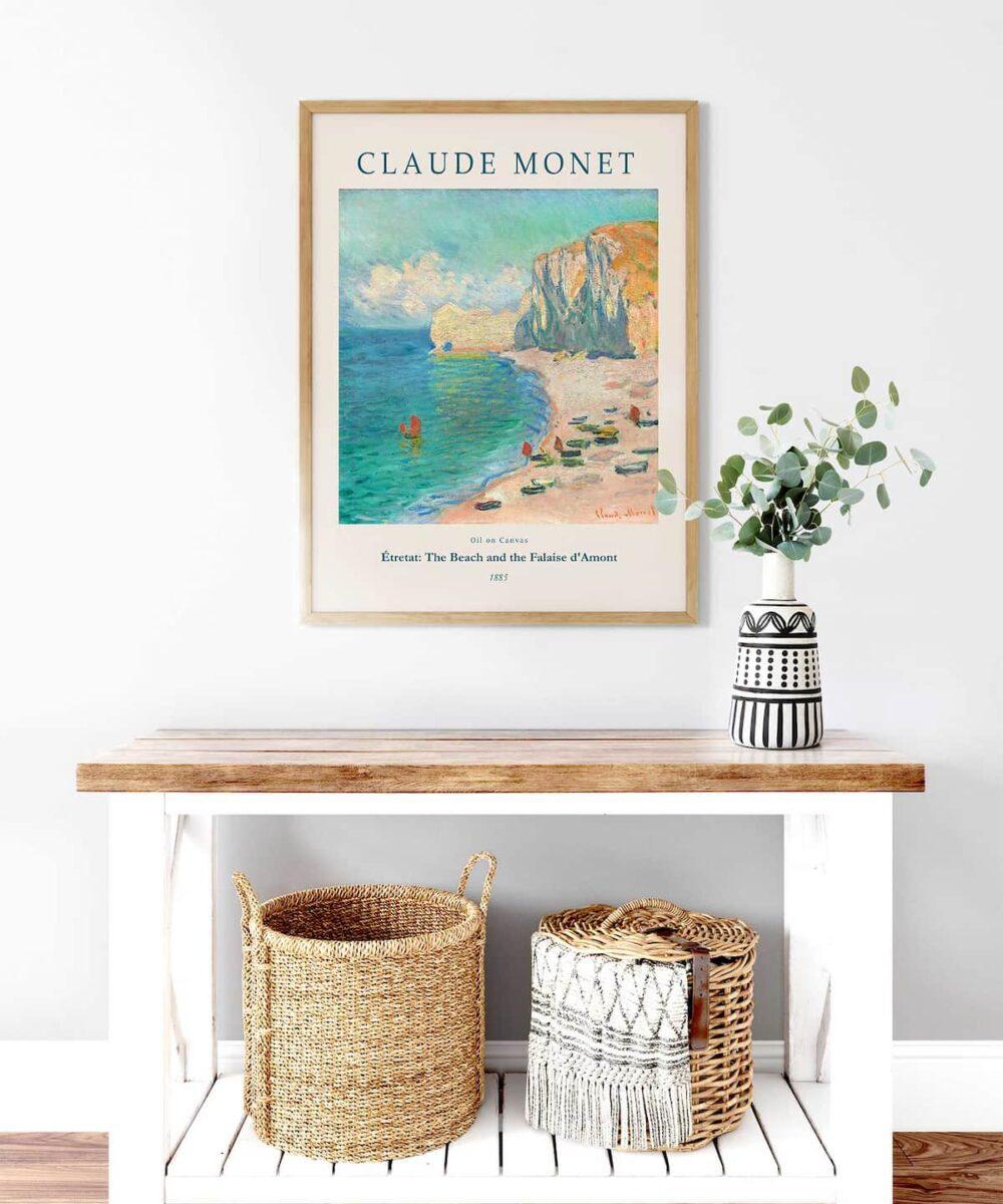 Monet-Étretat-The-Beach-and-the-Falaise-d'Amont-Poster-Wooden-Framed-Duwart