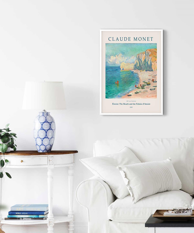 Monet-Étretat-The-Beach-and-the-Falaise-d'Amont-Poster-on-Livingroom-Wall-White-Framed-Duwart (1)