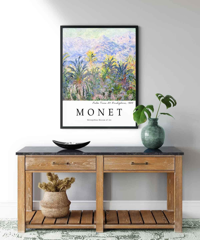 Monet-Palm-Trees-At-Bordighera-Poster-Black-Framed-on-Wall-Duwart