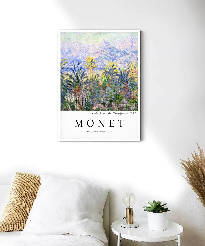 Monet-Palm-Trees-At-Bordighera-Poster-White-Framed-Duwart