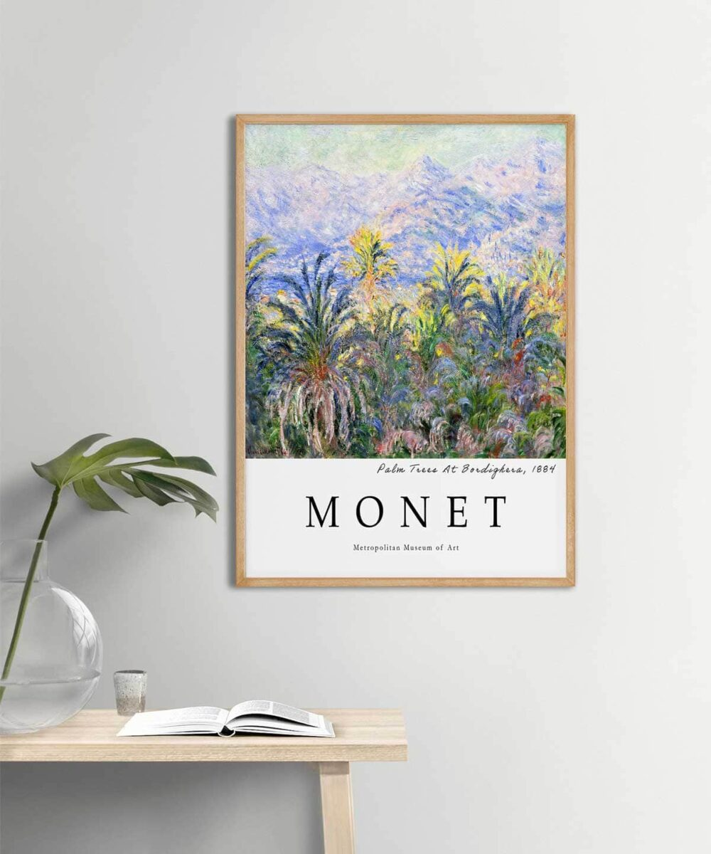 Monet-Palm-Trees-At-Bordighera-Poster-Wooden-Frame-Duwart