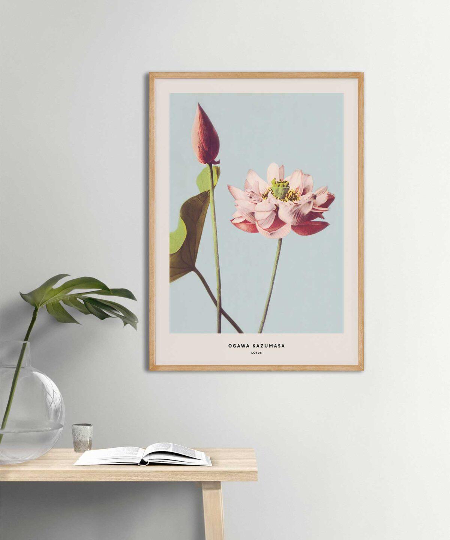 Ogawa-Kazumasa-Lotus-Poster-Wooden-Frame-on-Wall-Duwart