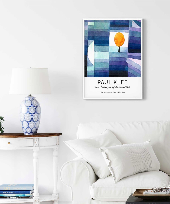 Paul-Klee-The-Harbinger-of-Autumn-Poster-on-Livingroom-Wall-White-Framed-Duwart