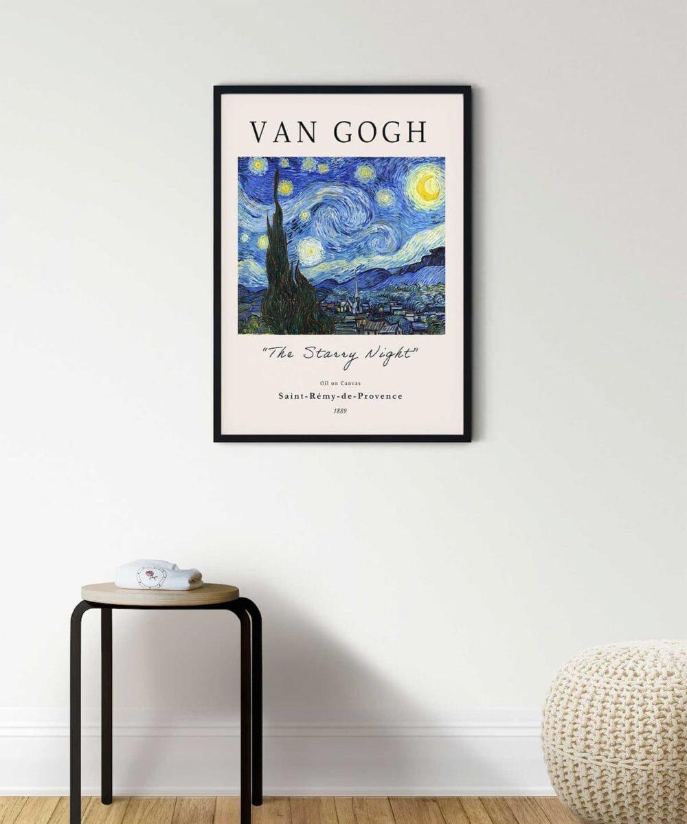 The-Starry-Night-Poster-Black-Framed-Duwart