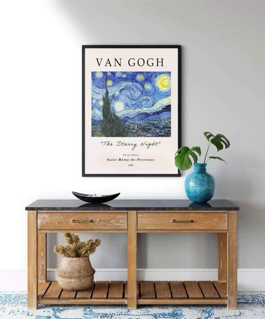 The-Starry-Night-Poster-Black-Framed-on-Wall-Duwart