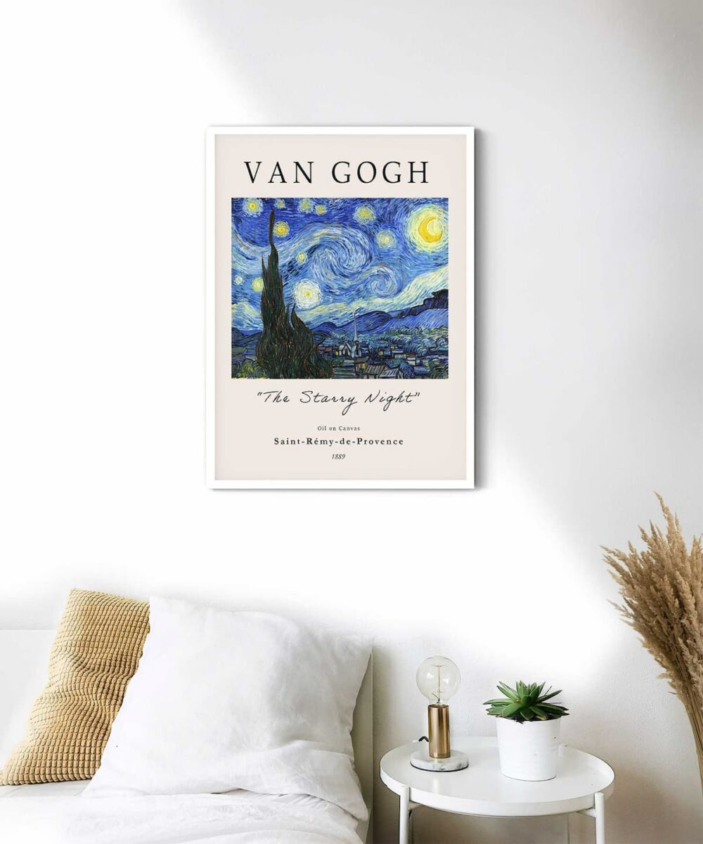 The-Starry-Night-Poster-White-Framed-Duwart
